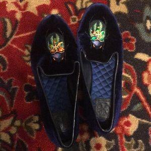 Tory Burch Velvet Beetle Loafers